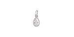 Clear CZ Stainless Steel Teardrop Charm 5x12mm
