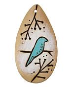 Summer Wind Art Blue Birds Wood Pendant 29x54mm