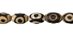 Tibetan (Dzi) Agate White & Black Rice 12x8mm