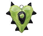 Earthenwood Studio Ceramic Horny Heart Pendant 35x36mm