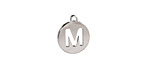 """Stainless Steel Initial Coin Charm """"M"""" 10x12mm"""