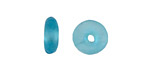 African Recycled Glass Caribbean Blue Mini Donut 12mm