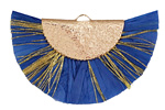 Royal Blue w/ Metallic Gold Fringed Raffia Focal 45x27mm
