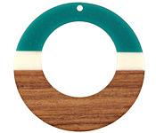 Walnut Wood & Succulent Resin Gypsy Hoop Focal 49mm