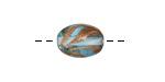 Czech Lampwork Aqua w/ Copper Swirl Oval 14x10-11mm