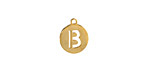 """Gold (plated) Stainless Steel Initial Coin Charm """"B"""" 10x12mm"""