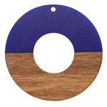Walnut Wood & Royal Blue Resin Donut Focal 45mm