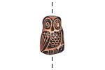 Czech Glass Black w/ Copper Owl Button 12x18mm