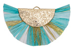 Turquoise Mix w/ Metallic Gold Fringed Raffia Focal 45x27mm