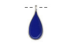 Zola Elements Cobalt Enamel Antique Silver (plated) Teardrop Focal 11x24mm