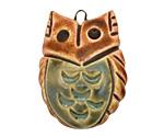 Earthenwood Studio Ceramic Round Owl Pendant w/ Leaf Belly 25x35mm