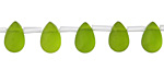 Matte Green Glass Faceted Flat Teardrops 6x9mm