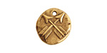 Nunn Design Antique Gold (plated) Organic Round Crossed Arrow Charm 17x19mm
