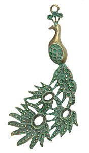 Zola Elements Patina Green Brass Peacock Pendant 43x95mm
