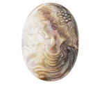 Black Lip Shell Carved Cameo Cabochon 27x37mm