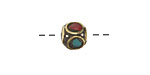 Tibetan Brass Cube Bead w/ Turquoise & Coral Mosaic 8mm
