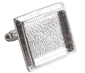 Nunn Design Sterling Silver (plated) Traditional Square Bezel Cuff Link 21mm