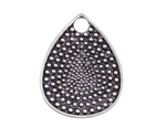 Antique Silver Finish Dotted Teardrop Pendant 25x32mm