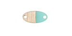 Wood & Sea Green Resin Oval Focal Link 17x8.5mm