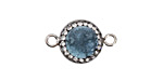Sky Blue Druzy w/ Pave Wrap Coin Focal Link Set in Silver (plated) 22x14mm