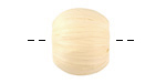 Sand Raffia Wrapped Wood Bead Large-Hole 16x19-20mm