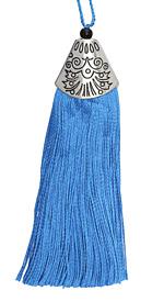 Ocean Blue Thread Tassel w/ Antique Silver (plated) Broad Tassel Cap 20x75mm