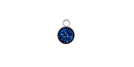 Metallic Indigo Crystal Druzy Coin Charm in Silver Finish Bezel 7x9mm