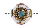 Tibetan White Shell & Brass w/ Turquoise Center Coin Bead 25mm