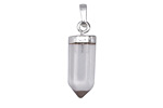 Rock Crystal Faceted Point Pendant w/ Silver Finish 9x23mm