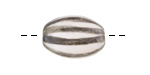 Gaea Ceramic Charcoal On Cream Striped Oval Bead 20x15mm
