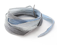 "Something Borrowed, Something Blue w/ Silver Metallic Edges Hand Dyed 100% Silk Ribbon 1/2"""