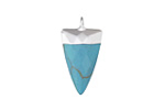 Turquoise (syn.) Faceted Triangle Pendant w/ Silver Finish 13x24mm