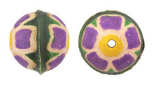 Hand Painted Purple Primrose Leather Round Bead 26-29mm