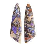 Purple Impression Jasper & Pyrite Thin Irregular Triangle Pendant Pair 12x43mm