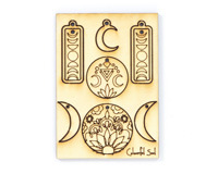 Vintaj Lunar Phase Colourful Soul Wood Jewelry Pop Outs