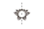 Antique Silver (plated) Lotus 6mm Round Bead Holder 19x14mm