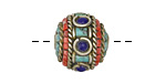 Tibetan Brass Turquoise & Coral w/ Lapis Dots Rondelle Bead 16x18mm