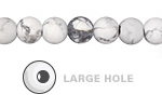 White Howlite (matte) Round (Large Hole) 8mm