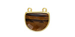 Tiger Eye Faceted Half Moon w/ Gold Finish Bezel Focal Link 17x16mm