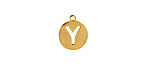 """Gold (plated) Stainless Steel Initial Coin Charm """"Y"""" 10x12mm"""