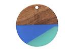 Walnut Wood & Atlantis Resin Coin Focal 28mm