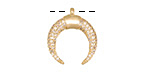 Satin Gold Finish Pave CZ Crescent Focal 17x19mm