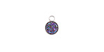 Metallic Solar Crystal Druzy Coin Charm in Silver Finish Bezel 7x9mm