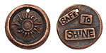 "The Lipstick Ranch Antique Copper (plated) Pewter ""Safe To Shine"" Sun Wax Seal Charm 22mm"