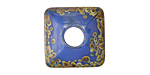 A Beaded Gift Dusted Egypt Raku Large Glass Square Rondelle (large hole) 20-21mm