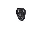 Gaea Ceramic Black Pearl Skull Bead 14-15x11-12mm