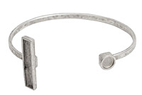 Nunn Design Antique Silver (plated) Rectangle/Circle Bezel Cuff Bracelet