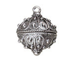 Antique Silver (plated) Large Bali Style Focal 25x31mm