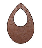 Lillypilly Golden Brown Spiral Embossed Leather Small Open Teardrop 34x50mm