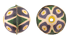 Hand Painted Purple & Yellow Wildflower Leather Round Bead 26-29mm